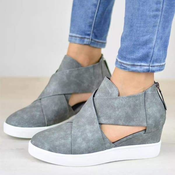 43211fb799 Chellysun Criss-cross Cut-out Wedge Sneakers