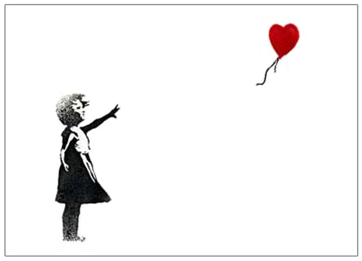 Banksy Girl Red Balloon heart Graffiti  ACEO Canvas Giclee Print reproduction