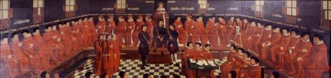 Formal inaugural sitting of the Parliament of Mechelen under Charles the Bold, Duke of Burgundy, 3 January 1474, in the Schepenhuis in Mechelen (1587)