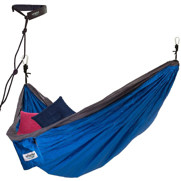 2 Person Hammock by Unlimited Camp: 3 Seam Nylon Portable Lightweight Bedding for Camping, Hiking, Beach, or Yard plus Free Pillows, Ropes, and Straps >>> Check out the image by visiting the link.