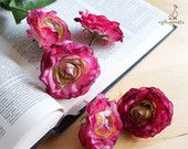CLEARANCE – was USD7.28 – Pink and Green Ranunculus – set of five – silk flower head – artificial flower – wedding crown – bride (FB13-1-H)