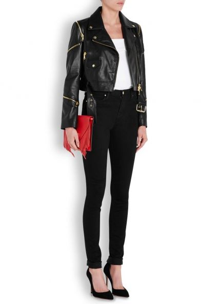 Black cropped zip-embellished leather jacket - Women