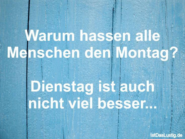 Warum hassen alle Menschen den Montag?  Dienstag ist auch nicht viel besser... ... gefunden auf https://www.istdaslustig.de/spruch/932 #lustig #sprüche #fun #spass