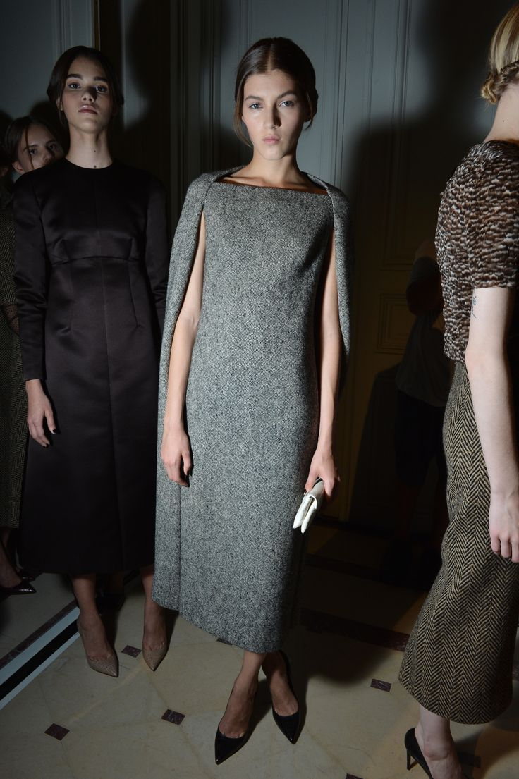 Grey cape dress backstage at valentino fall2013 couture for Grey dress wedding guest