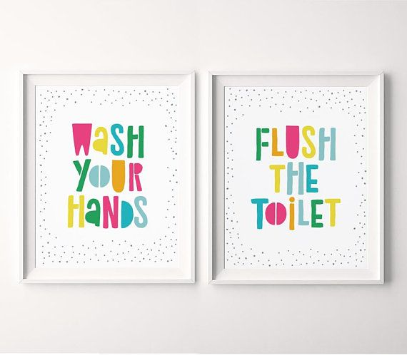 Kids Bathroom Printable Set Of 2 Wash Your Hands Flush The Toilet Printable Signs Bathroom Wa Bathroom Wall Art Kids Bathroom Print Kids Bathroom Wall Art