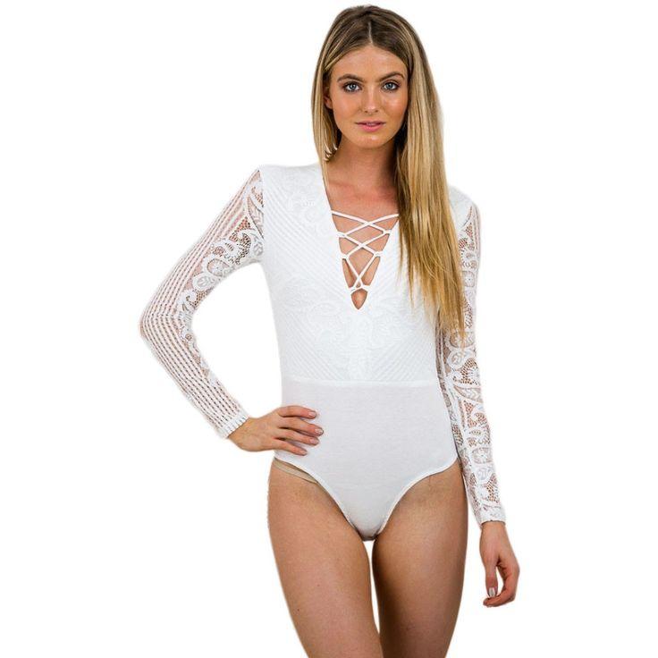 White Long Sleeve Bodysuit LAVELIQ