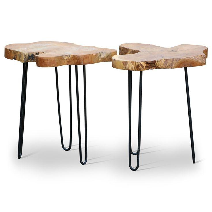 Treetop Bijzetfafel | Design meubelen en de laatste woontrends #tree #top #treetop #houten #bijzettafels #staal #steel #hout #teakhout #teak #world #uniques #zenlifestyle #zen #lifestyle