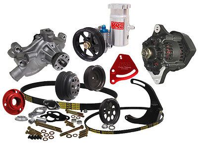 KRC CHEVY CRATE SERPENTINE PULLEY KIT W/ DENSO ALTERNATOR & MOUNT KIT,BLOCK P.S.