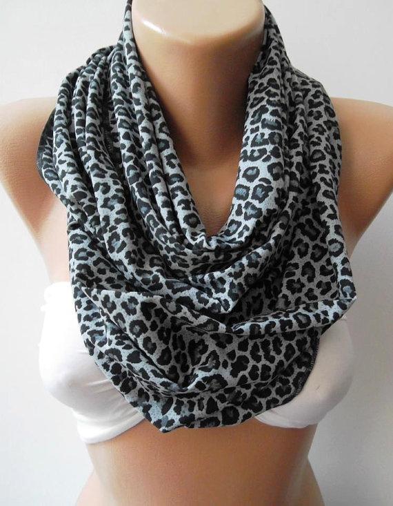 Infinity Scarf Loop Scarf Circle Scarf Gift  Leopard  by womann, $19.90