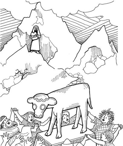 moses golden calf coloring page