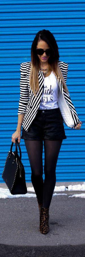 Stripped blazer + black short + quote Tshirt #fashion #outfit
