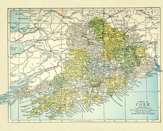 Cork Ireland Map Baronies of Cork Map Old by FabVintagePosters