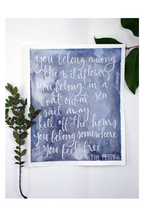 Navy watercolour wash with white ink quote. by ArtandAlexander