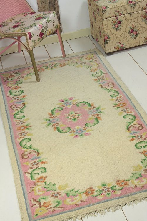 Vintage Home Pretty 1920s Floral Rug Shabby Chic