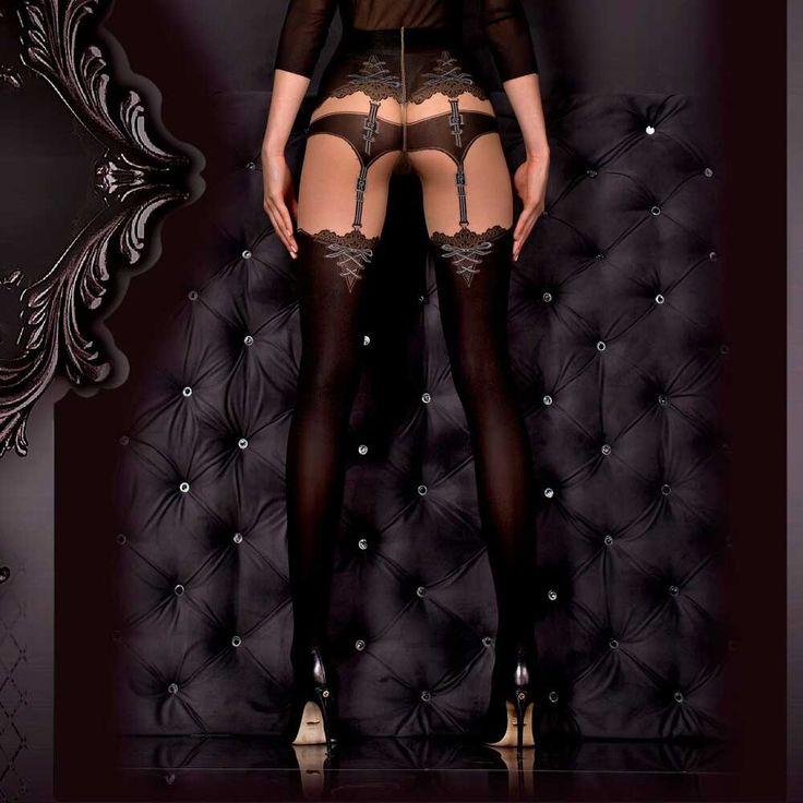 Ballerina Hosiery Radella jarretel panty zwart/huidskleurig | Attitude