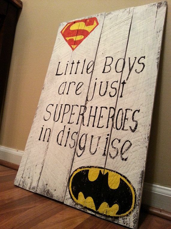 Superhero Reclaimed Wood Sign / Little Boys Are Just Superheroes In Disguise / Superman Batman / Weathered Vintage Look / kids room decor
