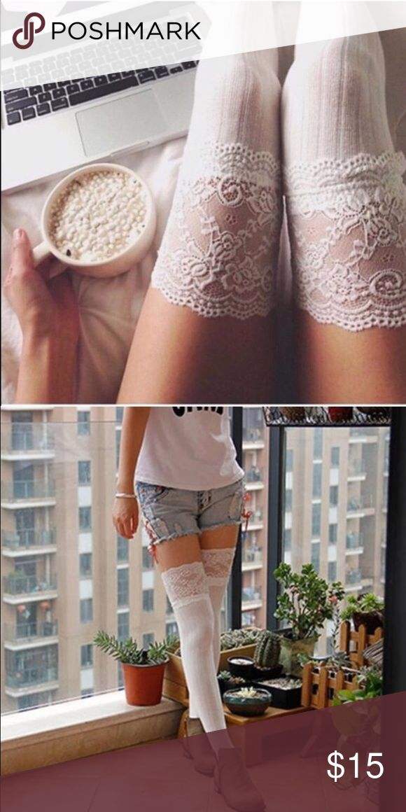 ☕️COMING SOON☕️ NOT YET AVAILABLEBrand New White Lace Thigh High Socks. Perfect for lounging. Cute. Trendy. Tube. Kawaii. Comfy. Not from FP. Free People Accessories Hosiery & Socks