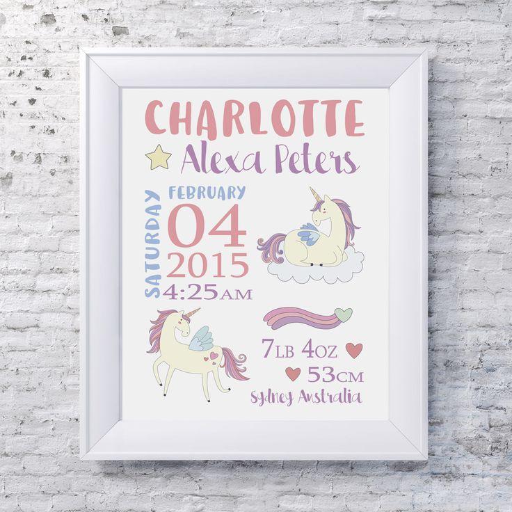 MAGICAL UNICORN  Birth Stats Print / Kids Room Decor/ Kids Wall Art / Nursery Wall Art / Personalised Prints by groovygoose on Etsy