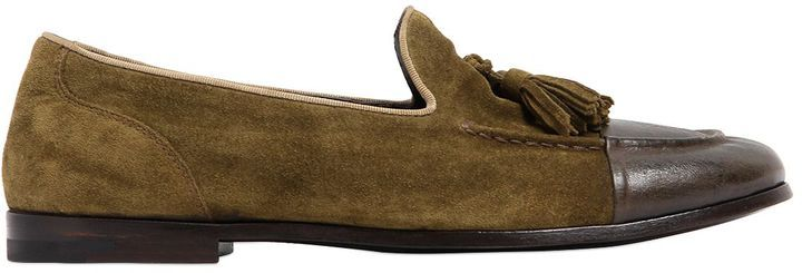 ALBERTO FASCIANI - LEATHER & SUEDE TASSEL LOAFERS - MILITARY GREEN