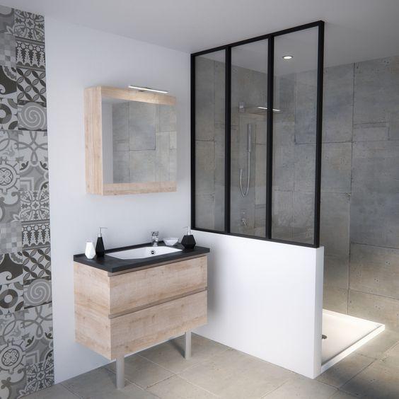 Meuble salle de bain petite taille pratique petits espaces verrière salle de ba…