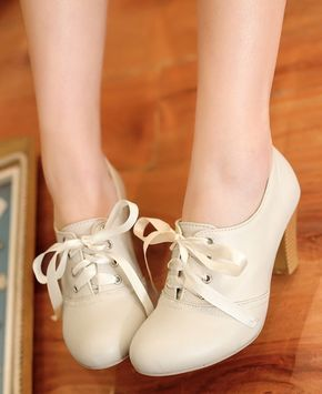 Women'S Punk Pointed Toe Lace Up Platform Block High Heels Ankle Boots Shoes Beige – Fashion