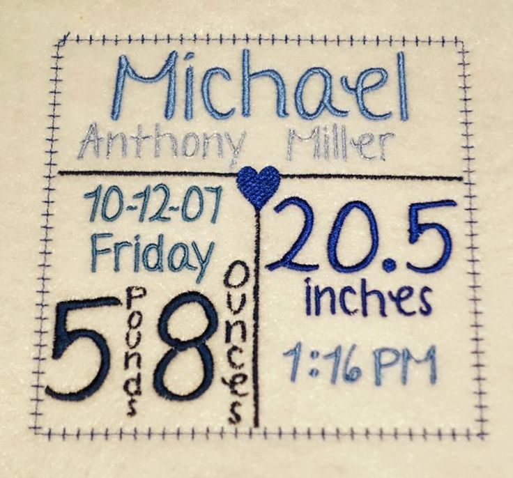 Free Embroidery Design: Birth Announcement Frame
