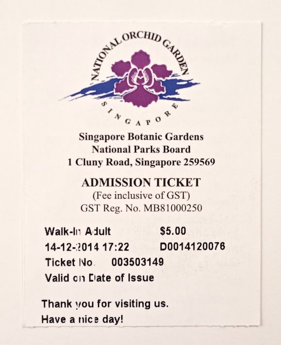 Orchid Garden admission ticket in Singapore.