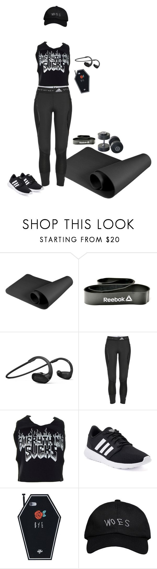 """Shitty attitude, but still gonna sweat it out 💪💦✨"" by sierraelizabitch ❤ liked on Polyvore featuring Reebok, adidas, Kill Star and October's Very Own"
