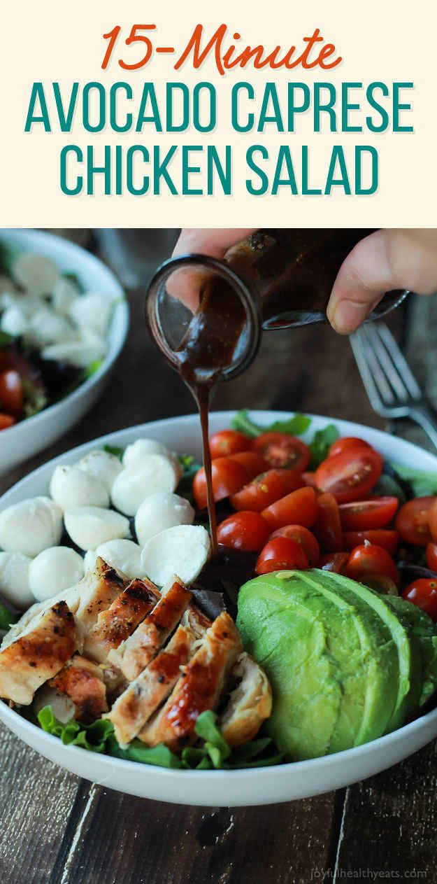 15-Minute Avocado Caprese Chicken Salad