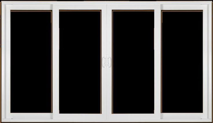 12' patio sliding glass door with 4 panels in which the (2) center panels operate with one sliding to left and the other to the right while the outer panels are fixed all within a single frame.