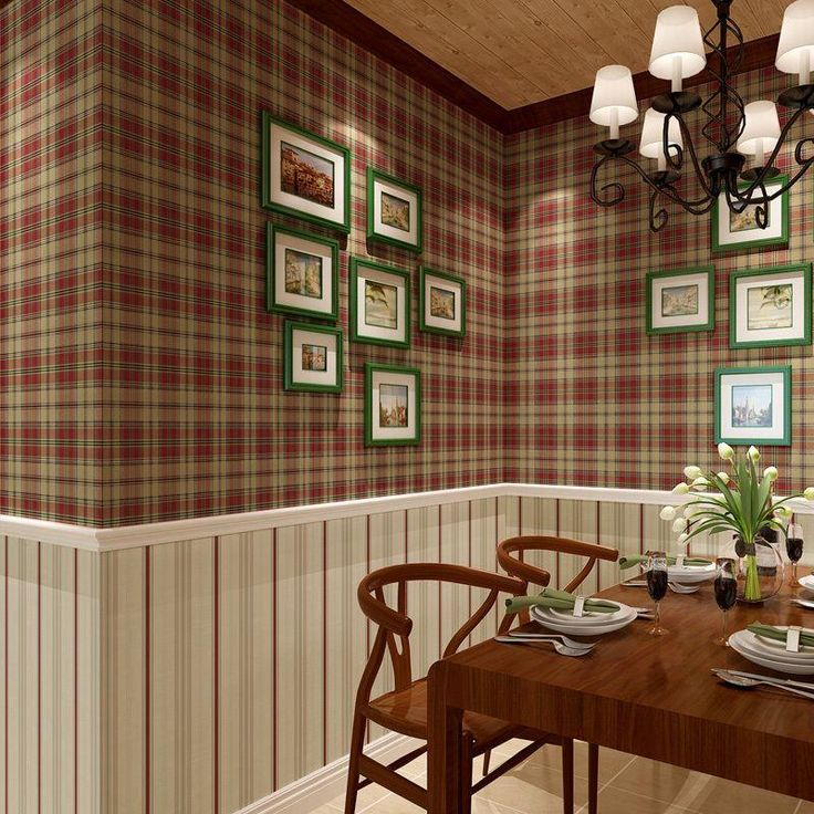 Scottish Plaid Wallpaper Vintage American Country Stripe