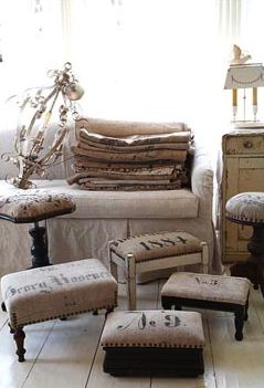 Re-upholster benches... foot stools - sack cloth inspiration