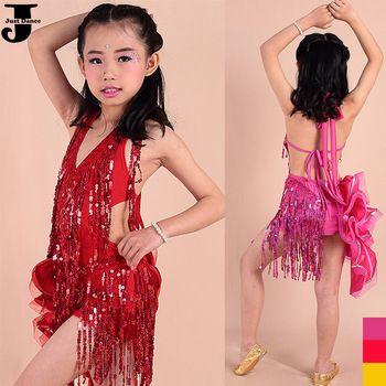 US $38.00 / piece  2015 Latin Dance Dress For Girls Red/Rose/Orange Ballroom Dance Dresses Kids Tassel&Fishbone&Sequin Children Party Dress