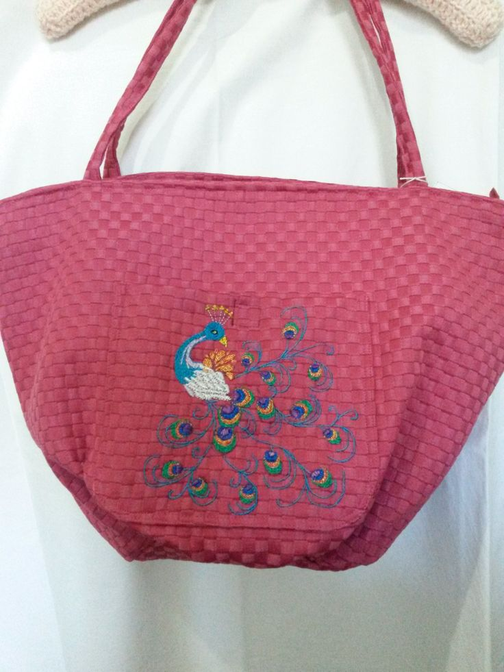 Watermelon Pink bag with hand embroidered peacock for Ina