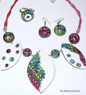 Fii unica purtand o bijuterie unicat!: VANDUT Set multicolor format din colier, cercei si...