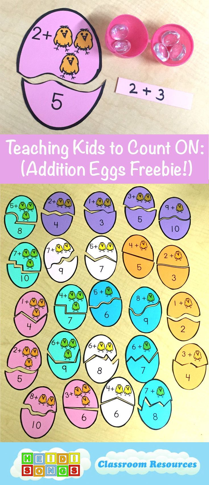 Teaching Kids to Count On- This post has EIGHT different ways to help kids learn how to count on, plus a great Addition Eggs Freebie! #kindergarten