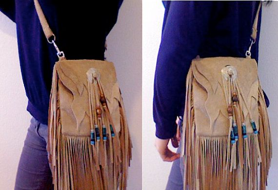 Tan and Turquoise Native American Leather Cross Body Purse