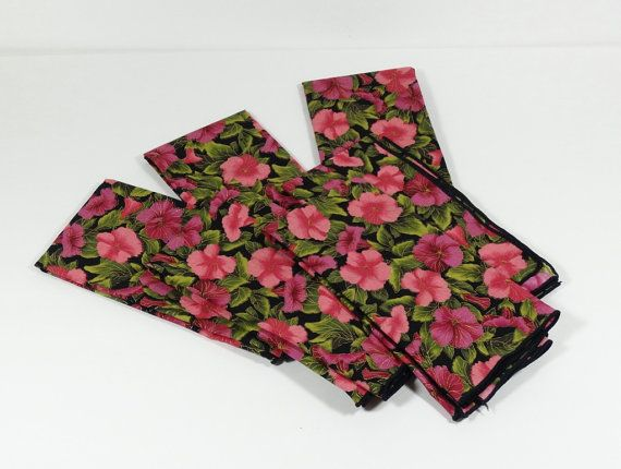 Elegant Pink Green and Black Floral Cloth by OldThingsMakeMusic