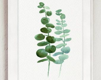 Blauw Eucalyptus zilveren Gift van de verjaardag van de aquarel, minimalistische botanische woonkamer muur Decor, groene bladeren haar keuken Art Print