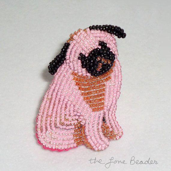 Made to Order: Beaded Pale PINK PUG keepsake dog art pin/ by thelonebeader, $95.00