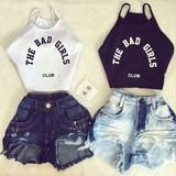 Buy Sleeveless Shirt Letter Print Casual Crop T Shirt at Marks Urban Wear® for only $7.74