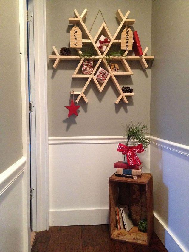 Let it Snow  diy wooden snowflake shelf, christmas decorations, diy, seasonal…