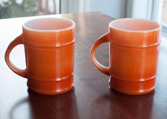 2 tasses orange Fire King Ranger orange vintage