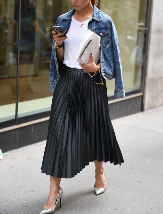 CLICK   BUY  ) New black faux leather pleated skirt high waist midi length  autumn fall winter black pleated skirt fall winter outfit blue denim jacket  ...