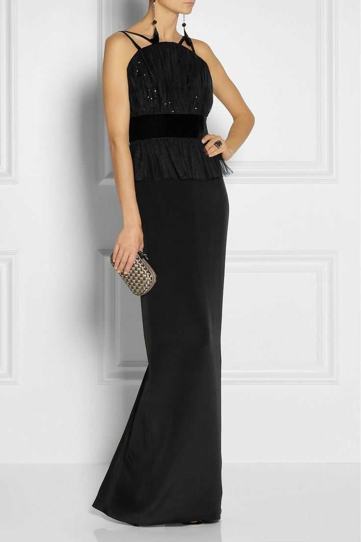 NOTTE BY MARCHESA Sequined tulle and silk-crepe peplum gown $895 Designed with a sequined tulle bodice, Notte by Marchesa's gown features a pleated peplum and waist-defining velvet band. The silk-crepe column skirt elegantly sways with each step - just add pin heels to finish.