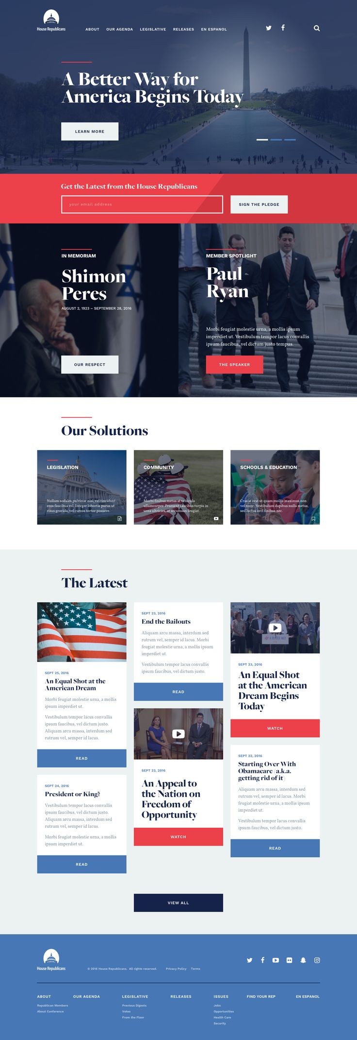 GOP.gov Website Design not your usual corporate website: good use of serif and sans serif combination