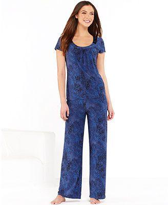Alfani Essentials Navy Snake Top and Pajama Pants