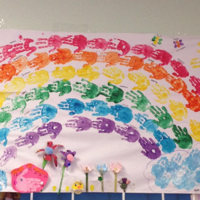 Preschool spring rainbow for hallway board with  diecut hands and all the student's names, one on each hand.  WHAT A CUTE IDEA!