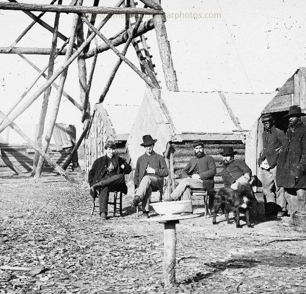 American Civil War Tents / Encampments. Bermuda Hundred, Va. Officers at their quarters near a signal tower. Army of the James. LOC