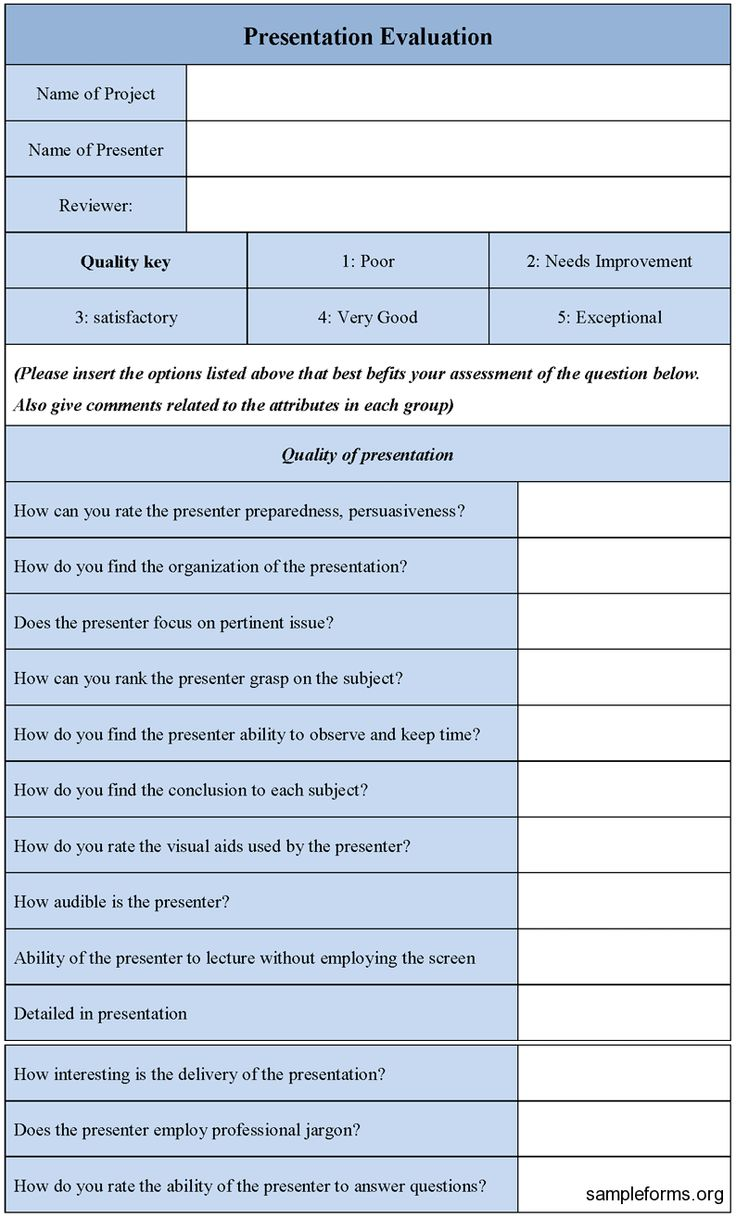 Presentation Evaluation Form Template